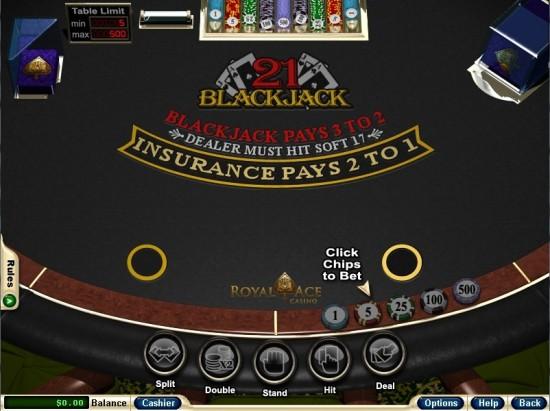 royal ace casino blackjack