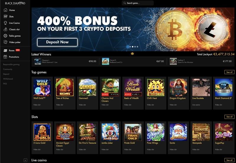 Black Diamond Casino bonus codes